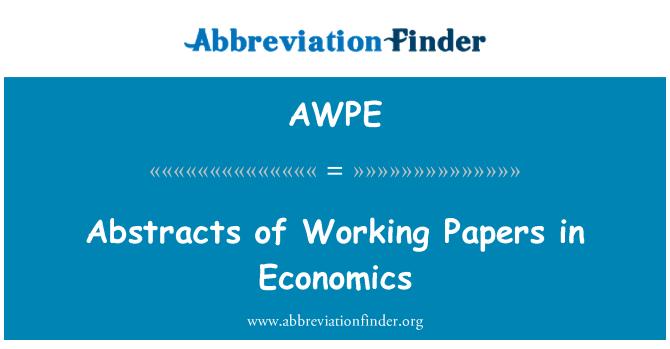 AWPE: Resúmenes de documentos de trabajo en la economía