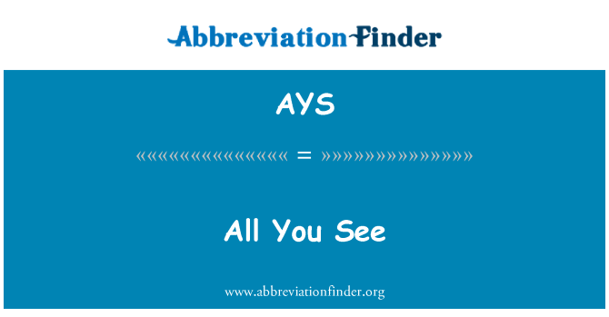 AYS: All You See