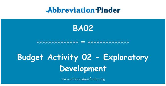 BA02: Budget Activity 02 - Exploratory Development