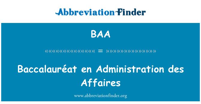 BAA: Baccalauréat en Administration des Affaires