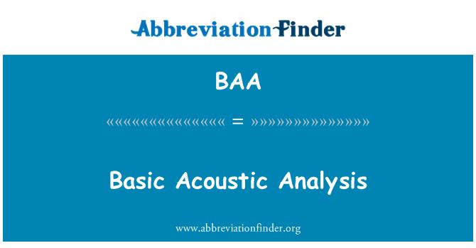 BAA: Basic Acoustic Analysis