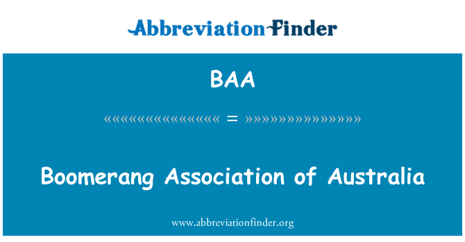 BAA: Boomerang Association of Australia