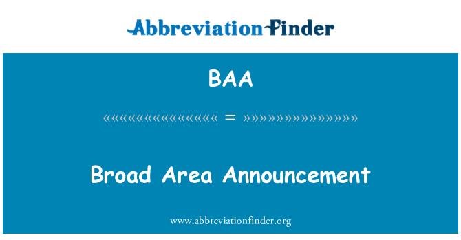 BAA: Broad Area Announcement