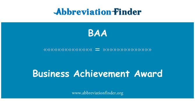 BAA: Business Achievement Award
