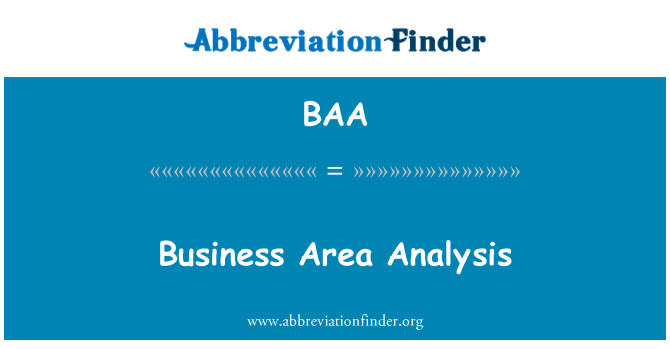 BAA: Business Area Analysis