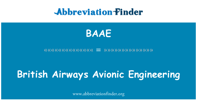 BAAE: British Airways Avionic Engineering