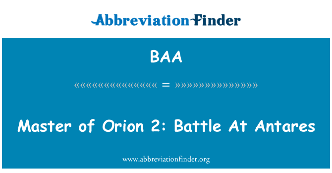 BAA: Master of Orion 2: Battle At Antares