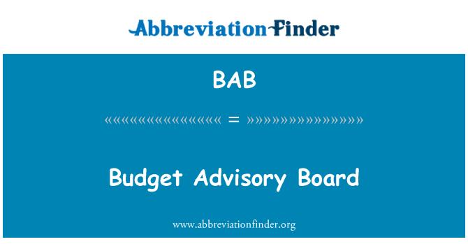 BAB: Budget Advisory Board