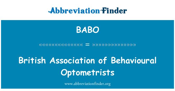 BABO: British Association of Behavioural Optometrists