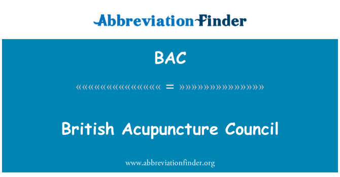 BAC: British Acupuncture Council