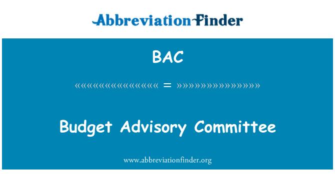 BAC: Budget Advisory Committee