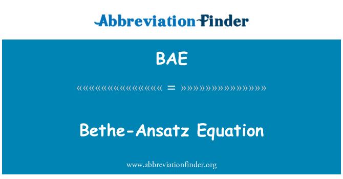 BAE: Bethe-Ansatz Equation
