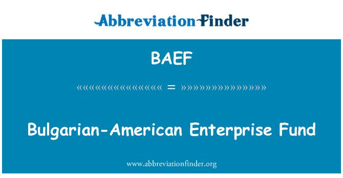 BAEF: Bulgarian-American Enterprise Fund