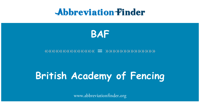 BAF: British Academy of Fencing