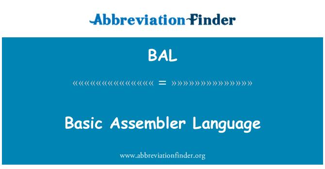 BAL: Basic Assembler Language