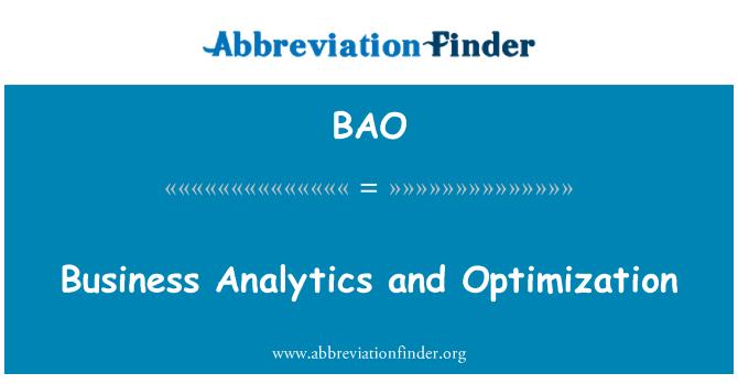 BAO: Business Analytics and Optimization