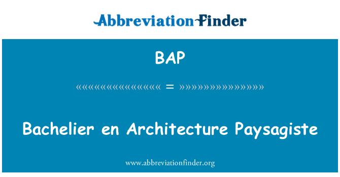 BAP: Bachelier en Architecture Paysagiste