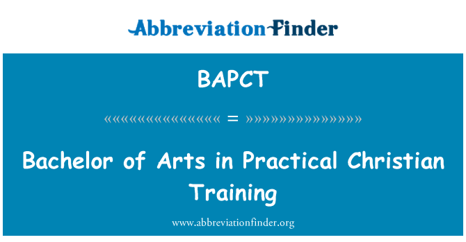 BAPCT: Bachelor of Arts in Practical Christian Training