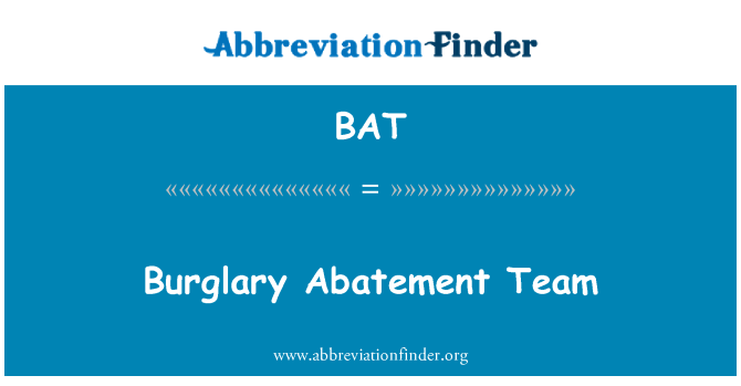 BAT: Burglary Abatement Team