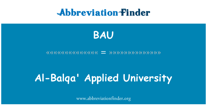 BAU: Al-Balqa' Applied University