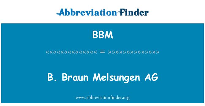 BBM: B. Braun Melsungen AG