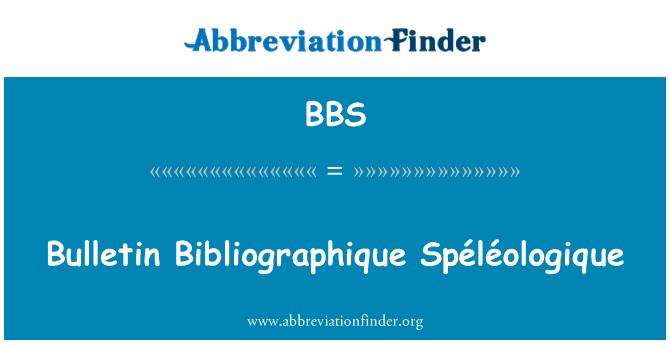 BBS: Bulletin Bibliographique Spéléologique