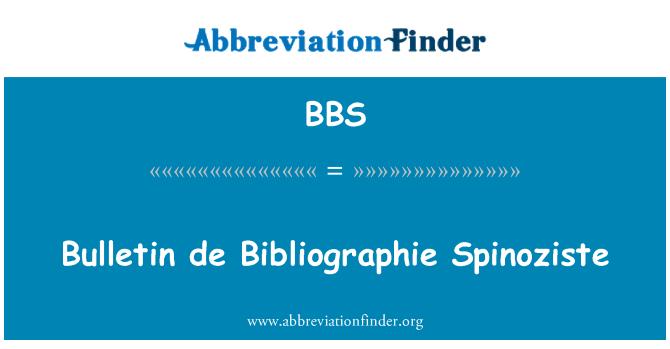 BBS: Bulletin de Bibliographie Spinoziste