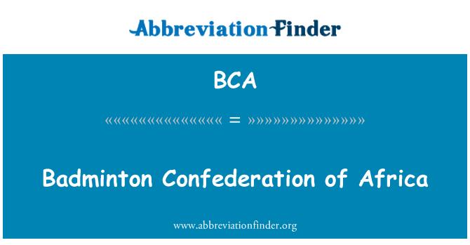 BCA: Badminton Confederation of Africa