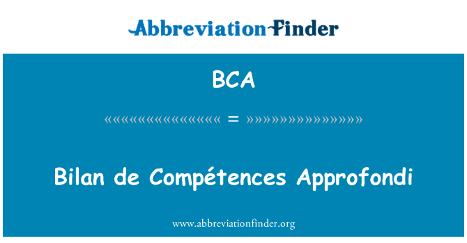 BCA: Bilan de Compétences Approfondi