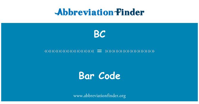 BC: Bar Code