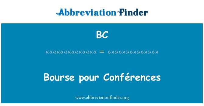 BC: Bourse pour Conférences