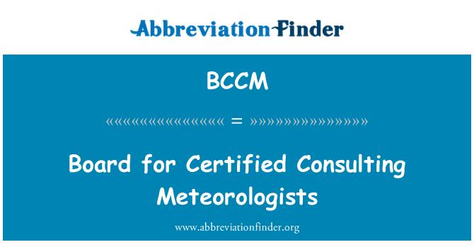 BCCM: Yönetim Kurulu sertifikalı danışmanlık Meteorologlar için