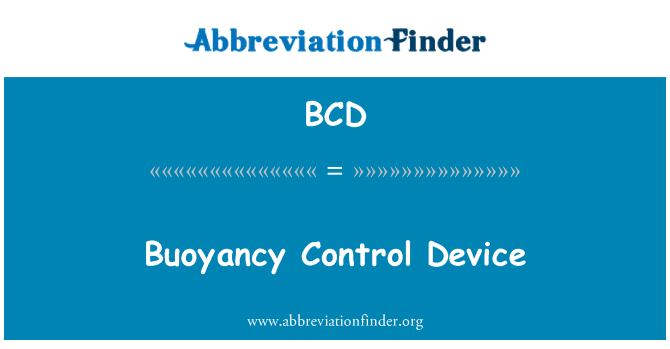 BCD: Buoyancy Control Device