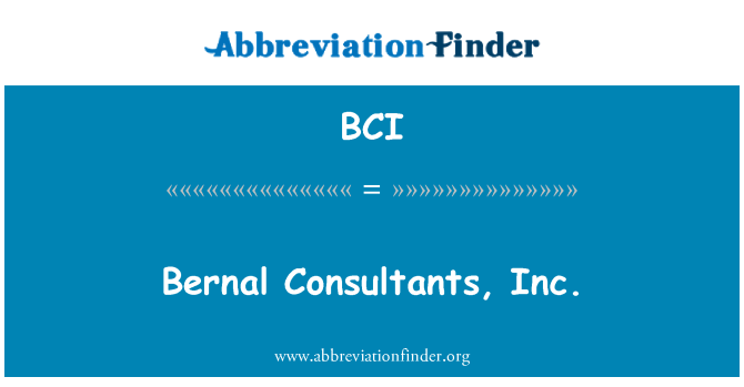 BCI: Bernal Consultants, Inc.