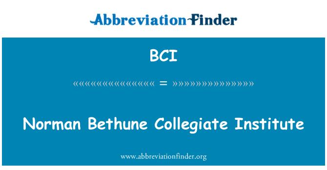 BCI: Norman Bethune Collegiate Institute