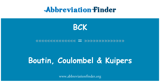BCK: Boutin, Coulombel & Kuipers