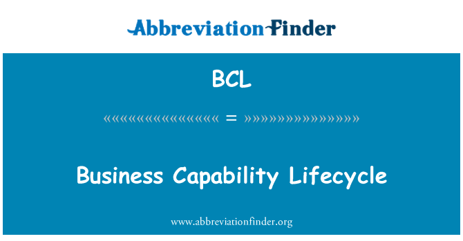 BCL: Business Capability Lifecycle