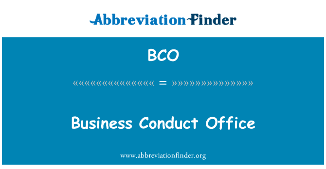 BCO: Business Conduct Office