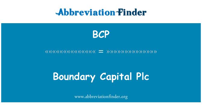 BCP: Boundary Capital Plc