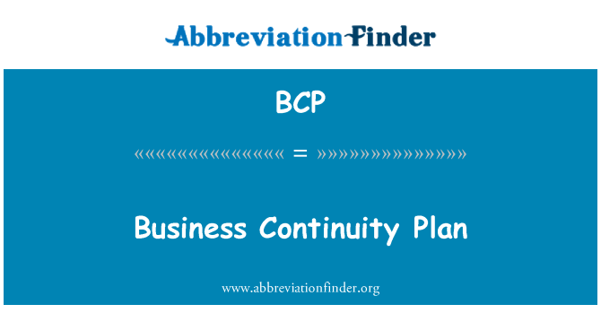 BCP: Business Continuity Plan