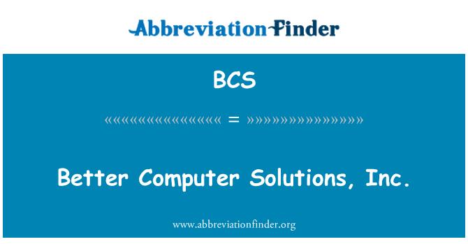 BCS: Better Computer Solutions, Inc.