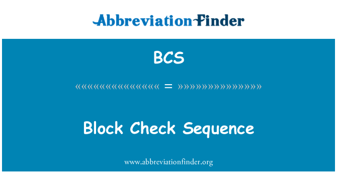 BCS: Block Check Sequence