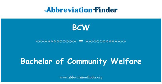BCW: Bachelor of Community Welfare