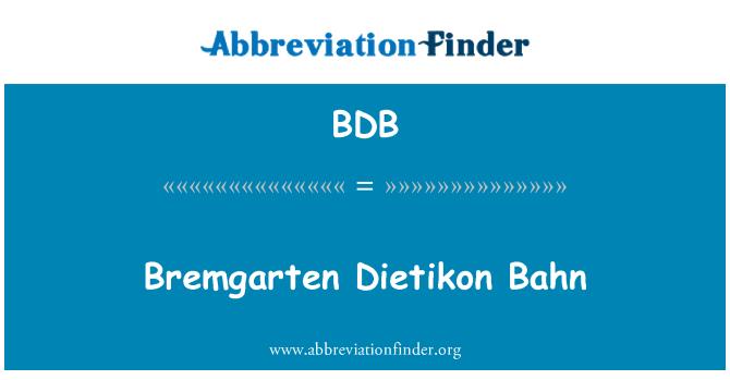 BDB: Bremgarten Dietikon Bahn