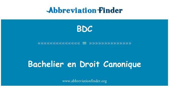 BDC: Bachelier en Droit Canonique