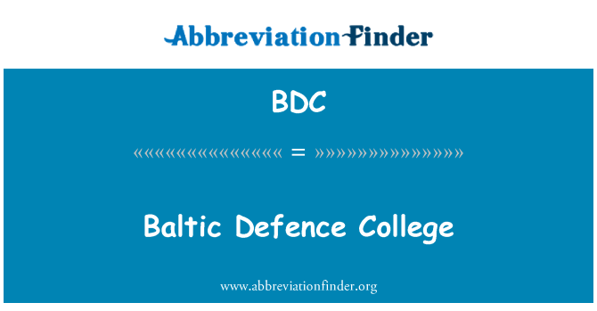 BDC: Baltic Defence College