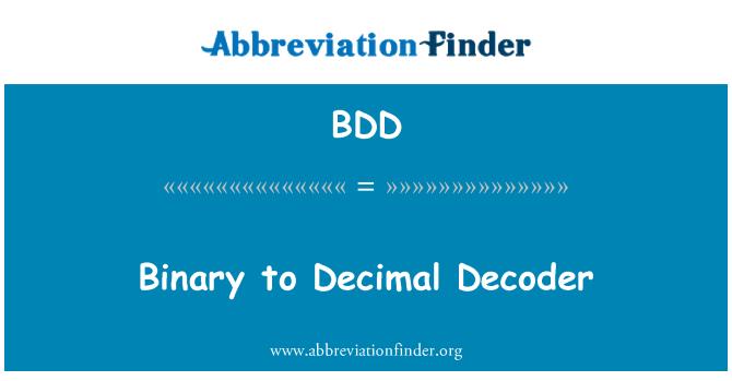 BDD: Binary to Decimal Decoder