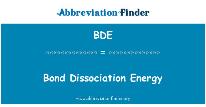BDE: Bond Dissociation Energy