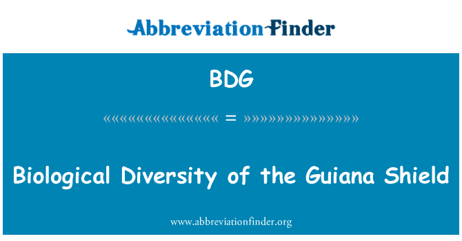 BDG: Biological Diversity of the Guiana Shield