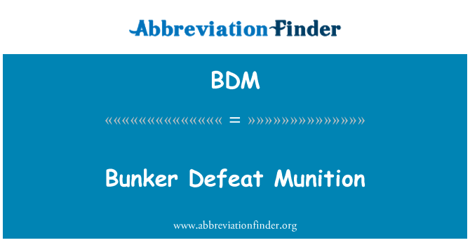 BDM: Bunker Defeat Munition